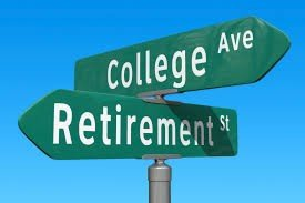 college or retirement sign