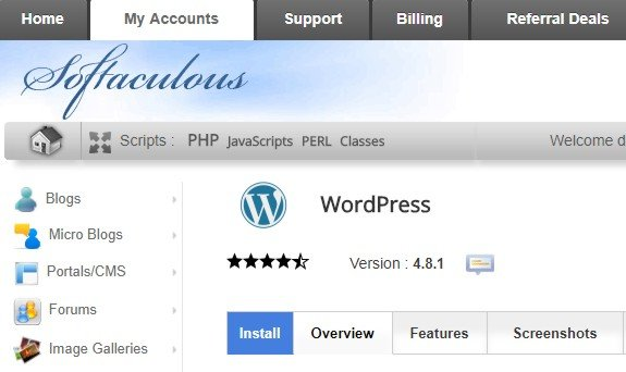 Wordpress install screen part 1