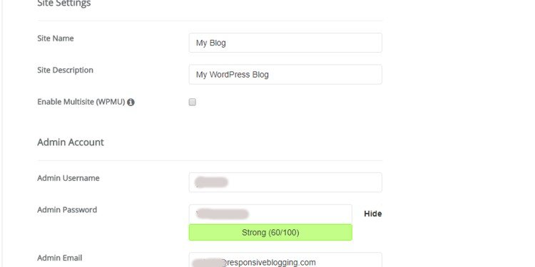 Siteground WordPress site settings